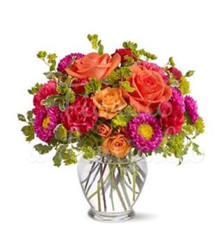 bouquet-di-roselline-arancio-e-fiori-misti-rossi-e-rosa
