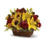 cesto-di-rose-rosse-girasoli-e-gigli-gialli