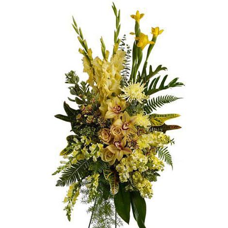 Fiori Gialli Bouquet.Cuscino Funebre Di Orchidee E Fiori Gialli