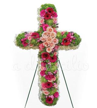 croce-funebre-di-rose-rosa-e-gerbere-rosse