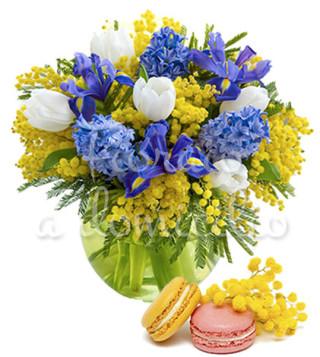 bouquet-di-mimose-tulipani-e-iris-con-macaron