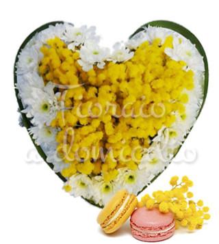 cuore-di-mimose-e-margherite-con-macaron