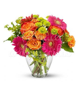 bouquet-di-roselline-arancio-e-gerbere-viola